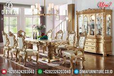 Model Meja Makan Mewah Ukiran Jepara Luxury Carving Best Golden Duco Color TTJ-0967