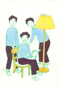 フロアランプのあるモカシンを履いた三兄弟の肖像