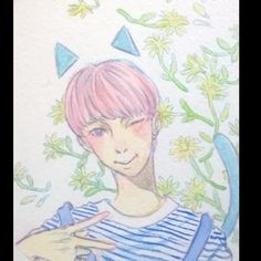Seventeen's Woozi wip  I'm in loving doing the lineart with colorful graffiti instead of ink.  #woozi #seventeen #fanart #watercolor #tradicionalart #pentel #우지 #LeeJihoon #이지훈 #kpop #anime #manga #drawing #wip  Full pic on my Page fb.me/ diuryryarts