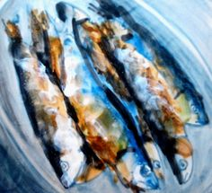 Painted sardines on tile