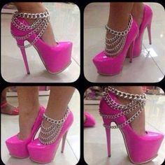Pink Heels with Silver Chains Hot Pink Heels, Pink Shoes, Buy Shoes, Pink Pumps, Dream Shoes, Crazy Shoes, Me Too Shoes, Stilettos, Stiletto Heels