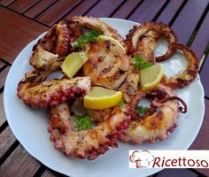 polpo grigliato Fish Recipes, Meat Recipes, Cooking Recipes, Healthy Recipes, Fish Dishes, Seafood Dishes, Fish And Seafood, Love Eat, Love Food