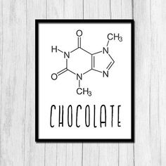 Schokolade-Molekül-Struktur Theobromin Chemie von TheNerdyFamily Chocolate Molecule Structure Theobromine Chemistry by TheNerdyFamily Chemistry Posters, Chemistry Art, Chemistry Teacher, Organic Chemistry, Chemistry Drawing, Cuadros Diy, Science Teacher Gifts, Teacher Appreciation, Printable Wall Art