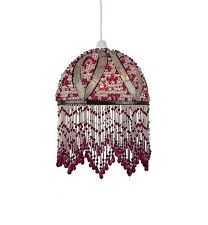 Lightings Handmade Burgundy Beaded Lampshade