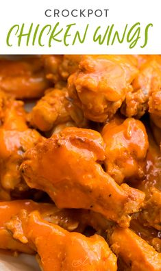 These chicken wings are so tender perfectly spicy crispy and delicious. Plus they're made in the Crockpot or slow cooker making them super easy. Perfect as an appetizer or main course especially during tailgating season holidays or parties! Healthy Chicken Recipes, Healthy Dinner Recipes, Whole Food Recipes, Vegetarian Recipes, Crockpot Recipes, Healthy Appetizers, Appetizers For Party, Appetizer Recipes, Yum Yum Chicken