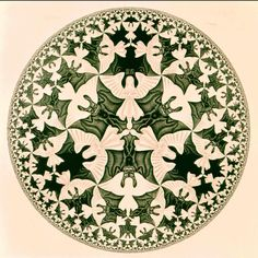 CIRCLE LIMIT IV by M.C. Escher, 1960. (Woodcut in black and ocre; printed from 2 blocks.)