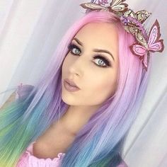 Earthy makeup to match my pastel butterfly headband from 😍🍃🌸🐛 lip shade eyelashes style striptease 👑💖💋 Hair Color Dark, Blonde Color, Cool Hair Color, Hair Colour, Frontal Hairstyles, Cute Hairstyles, Blue Hair, Pink Hair, Hair Inspo