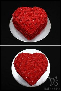 Cake Decorating Frosting, Cake Decorating Designs, Cake Decorating Videos, Cake Decorating Techniques, Heart Shaped Cakes, Heart Cakes, Valentines Day Cakes, Valentine Desserts, Pretty Cakes