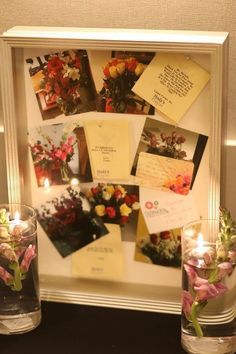 Shadow box of flower cards and pictures for wedding display table. From the Casper and Chaffron Corder wedding. Looking For Love, Flower Cards, Shadow Box, Get The Look, Our Wedding, Gift Wrapping, How To Get, Display, Flowers