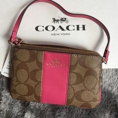 Coach Wristlet  PVC Leather Corner Zip F64233 Brand New with box and bag included Coach Bags