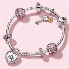 Lock Your Promise Bracelet, Fancy Fuchsia Pink & Clear CZ | PANDO