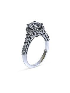 Cubic Zirconia round 1.25 Engagement 14K White Gold ring Cubic Zirconia Engagement Rings, Diamond Engagement Rings, Engagement Ring Settings, White Gold Rings, Natural Diamonds, Halo, Jewels, Style, Swag