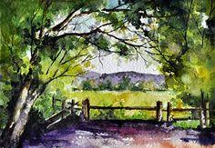 Original Watercolor Painting, Landscape Art, Bright Green 5x7 inch