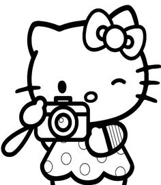 Cute Hello Kitty print and color pages are what this site is all about - grab your crayons - here are two more for you - there's Hello. Doodle Coloring, Coloring Sheets, Coloring Books, Coloring Pages, Baby Art Crafts, Hello Kitty Drawing, Hello Kitty Colouring Pages, Princess Invitations, Cat Cards