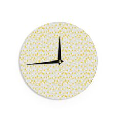 "Julie Hamilton ""Lemon Drop"" Yellow Gray Wall Clock"