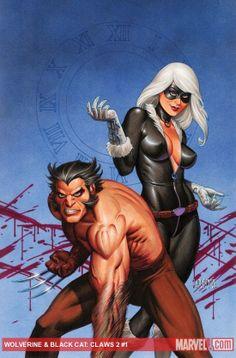 Wolverine & Black Cat by Joseph Michael Linsner