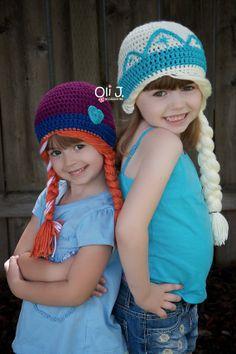 Frozen Inspired Girls' Elsa Anna Beanie Set by OliJAccessories, $50.00