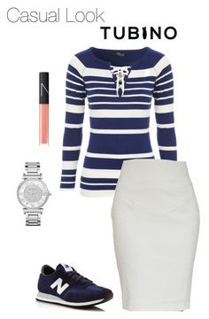 """""""Casual Look Pencil Skirt Ivory White"""" by tubino-skirts-dresses ❤ liked on Polyvore featuring Jane Norman, New Balance, Michael Kors and NARS Cosmetics"""