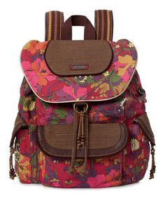 d00809b543b6 Scarlet  amp  Brown Flower Power Artist Circle Backpack by