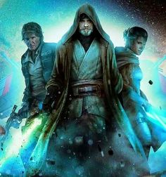 The older Luke, Han and Leia from Star Wars
