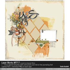 Layer Works 717 layered scrapbook page sketch in PSD and PNG file formats with geometric shapes perfect for fall photos #designerdigitals