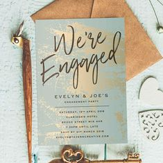 Gold Marble, Rustic Engagement Invitations, Engagement Invitations Boho, We're Engaged Invitation, Engagement Party Invitations, Gold Invite