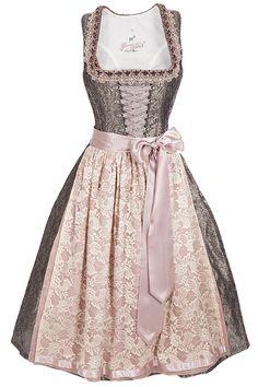 elegantes Midi Dirndl rosa grau spitzenschürze