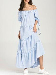 Off The Shoulder Striped Maxi Dress - BLUE STRIPE M