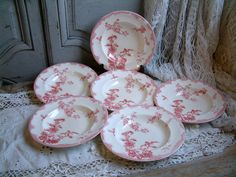 Set of 6 Antique french ironstone red transferware by Chanteduc