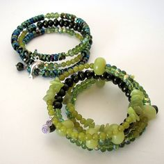 Jade beaded memory wire bracelet stack by OneEyeCatStudio on Etsy