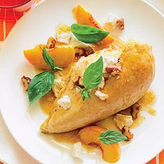 Easy Rotisserie Chicken Recipes  | Rotisserie Chicken with Peaches, Walnuts, and Basil | MyRecipes.com