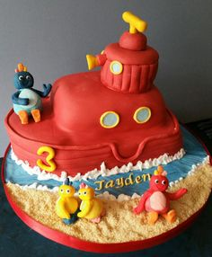 # Twirlywoos cake Baby 1st Birthday Cake, 1st Birthday Parties, Birthday Ideas, Twirlywoos Cake, Cupcake Cakes, Boat Cake, Fun Cakes, Cakes For Boys, Creative Cakes