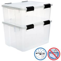 These Clear Watertight Totes are great for garage storage. They also come in a Trunk version.  Get the container size that's perfect for the category at hand.