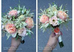 Baiciurina Olga's Design Room: Нежный персиково-белый букет невесты из пионовидных роз-Tender peach,white&green wedding bouquet.