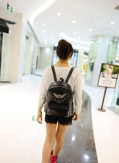 Find More Information about 2015 New Women's Backpack Rivet Skull PU School Bag Fashion Casual Personalized  Backpack + Free Shipping,High Quality backpackers world,China bag carrier Suppliers, Cheap bag button from Alisa Sweet Store on Aliexpress.com