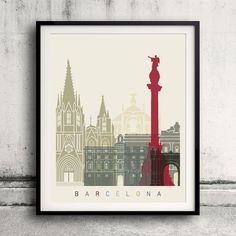 Barcelona skyline poster 8x10 in. to 12x16 in. Fine Art Print Glicee Poster Gift Illustration Artistic Colorful Landmarks - SKU 1177  You can select the print quantity on the menu below the price.  The papers used is Semi-Smooth Fine Art Matte Paper acid free 230 gr., printed in Laser Digital print.  You can see other sizes and finishes this picture in our other store on ETSY:  https://www.etsy.com/listing/258833895/barcelona-skyline-poster-fine-art-print  Our other s...