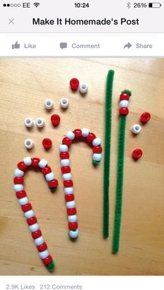 Candy canes from beads