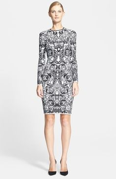 Free shipping and returns on Alexander McQueen Flower Jacquard Knit Dress at Nordstrom.com. A mirrored mosaic of jacquard-knit blossoms accentuates the sculpted silhouette of a bold crewneck dress.