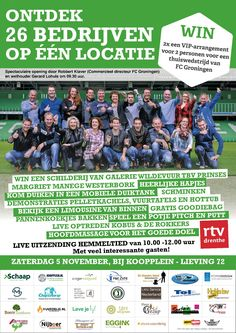 Zaterdag 5 november kunt u 26 bedrijven in 1 keer bezoeken tijdens de OBD bij Koopplein Midden-Drenthe. Het programma Hemmeltied van RTV Drenthe gaat live uitzenden bij ons. Kom allemaal gezellig langs want als bezoeker maakt u ook nog kans op 2x een VIP-arrangement voor 2 personen van FC Groningen. http://koopplein.nl/middendrenthe/2886953/kooppleinnl-is-deelnemer-open-bedrijven-dag-drenthe.html
