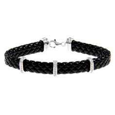 Combine elegance and rugged charm with this leather and diamond bracelet. Braided black leather is accented by three sterling silver bars adorned with diamonds in this wrap bracelet. A lobster claw clasp keeps this bracelet secure on your wrist.