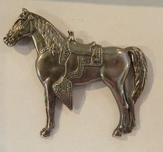 Large sterling silver Western horse brooch pin from The Old Grey Mare