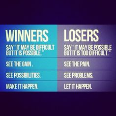 The differences between winners and losers.