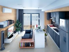 Love the modern design Small Apartment Design, Small Apartments, Small Space Living, Small Spaces, Tiny Living, Interior Decorating, Interior Design, Small House Plans, Layout