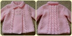 Diy Crafts - Pink cardigan will be a very good choice for your baby. Cardigan Bebe, Knitted Baby Cardigan, Knit Baby Sweaters, Knitted Baby Clothes, Knitted Coat, Shrug Knitting Pattern, Baby Knitting Patterns, Baby Patterns, Crochet Dress Girl