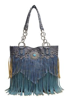 Brand: Cowgirl Trendy Color: Turquoise Features: Cowgirl trendy western tote bag is made of imitation leather with fabric lining on the inside Two rows of two-t Fringe Handbags, Hobo Handbags, Purses And Handbags, Hobo Bags, Designer Inspired Handbags, Vintage Street Fashion, Concealed Carry Purse, Casual Bags, Urban Fashion