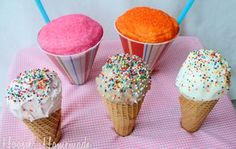 Ice Cream and Snow Cone Cupcakes from Hoosier Homemade | Featured in April Fool's Day recipe slideshow from Gooseberry Patch