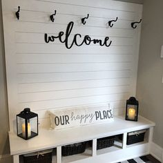 Welcome wood words wood word cut out laser cut wedding Entryway Wall Decor, Entry Wall, Porch Wall, Ship Lap Walls, Wooden Walls, Porch Decorating, Home Projects, Home Remodeling, Living Room Decor