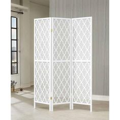 White honeycomb pattern 3 panels folding screen