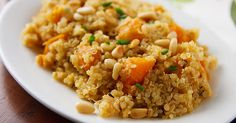 Lemony Quinoa with Butternut Squash is a delicious, low-fat, vegan side or main dish, perfect for holidays. Gluten-free, too!
