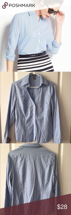 Ann Taylor • Button Up Blouse NWOT! Ann Taylor blue/white stripes v-neck button up blouse. Looks great with a pencil skirt. No stains/holes. No trades. Ann Taylor Tops Button Down Shirts